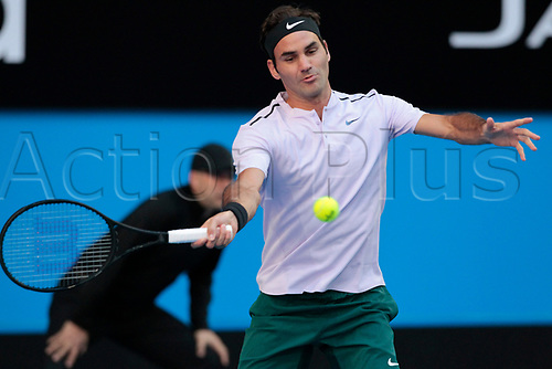 6th January 2018, Perth Arena, Perth, Australia; MasterCard Hopman Cup Tennis Final; Roger Federer of Team Switzerland plays a forehand shot against Alexander Zverev of Team Germany during the first set of the Final