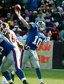 Landover, MD - December 24, 2005 -- New York Giants quarterback Eli Manning (10) releases a pass in game action against the Washington Redskins at FedEx Field in Landover, MD on December 24, 2005.  The Redskins won the game 35 - 20..Credit: Ron Sachs / CNP.(RESTRICTION: NO New York or New Jersey Newspapers or newspapers within a 75 mile radius of New York City)
