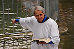 Israel, The Jordan River. Pastor Benny Hinn conducting the Baptismal&#xA;Ceremony in Yardenit, 2004<br />