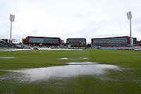 Large puddles on the outfield as heavy rain falls during Lancashire CCC vs Essex CCC, Specsavers County Championship Division 1 Cricket at Emirates Old Trafford on 5th September 2017