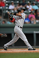 Shortstop Anderson Tejeda (1) of the Hickory Crawdads bats in a game against the Greenville Drive on Sunday, July 16, 2017, at Fluor Field at the West End in Greenville, South Carolina. Hickory won, 3-1. (Tom Priddy/Four Seam Images)