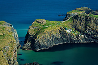 Carrick-a-Rede Island and bridge from Portaneevey Viewpoint. Northern Ireland
