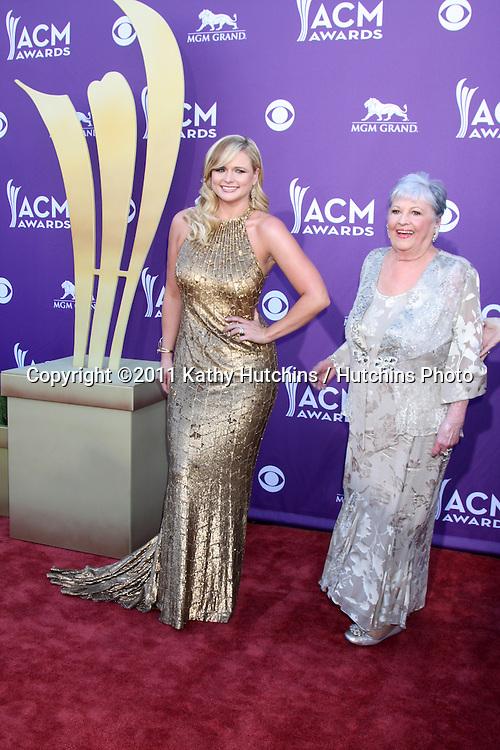 LAS VEGAS - APR 1:  Miranda Lambert, grandma arrives at the 2012 Academy of Country Music Awards at MGM Grand Garden Arena on April 1, 2010 in Las Vegas, NV.