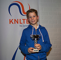 November 30, 2014, Almere, Tennis, Winter Youth Circuit, WJC,  Prizegiving,  Teun Rosenberg 6th place<br /> Photo: Henk Koster
