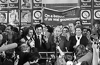 Montreal (QC) CANADA, November 15, 1976 file photo - Claude Charron,Camille Laurin, Lise Payette<br /> and  Candidates of the Parti Quebecois celebrate their first victory onstage with leader Rene Levesque , November 15 1976 at Centre Paul Sauve