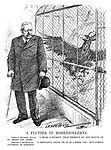 "A Flutter in Hohenzollerns. German Imperial Eagle. ""I hear a rumour that there's an off-chance of my being let loose."" President Hindenburg. ""I shouldn't count on it if I were you; but almost anything is possible."" (an Interwar cartoon shows a hopeful caged German Imperial Eagle as Hindenburg watches from outside)"