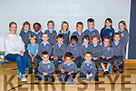 Mona Cremin with her Junior Infants class in St Johns NS, Kenmare on Thursday