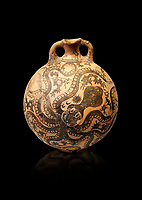Minoan 2 handled flask with Marine style stylised octopus design,   Palaikastro,  1500-1450 BC; Heraklion Archaeological  Museum, black background