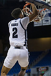 Nevada guard Jalen Harris (2) dunks the ball against Colorado Christian during the second half of an NCAA college basketball game in Reno, Nev., Wednesday, Oct. 30, 2019.