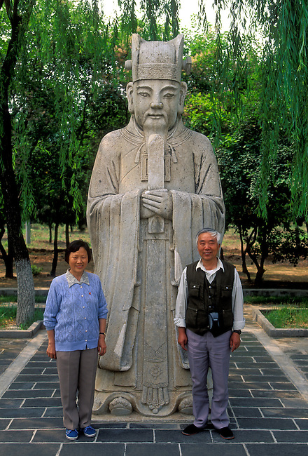 Stone statue of a Civilian Mandarin along Spirit Way at Ming Tombs, Changping District, Beijing Municipality, China, Asia