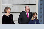 Former King Juan Carlos I of Spain, Former Queen Sofia of Spain, Princess Leonor of Spain and Princess Sofia of Spain attends to 40 Anniversary of Spanish Constitution at Congreso de los Diputados in Madrid, Spain. December 06, 2018. (ALTERPHOTOS/A. Perez Meca)