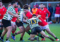 Action from the 2019 Wellington premier 2 men's Hardham Cup rugby final between Old Boys University and Marist St Pat's at Petone Rec in Wellington, New Zealand on Saturday, 27 July 2019. Photo: Dave Lintott / lintottphoto.co.nz
