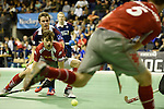 Berlin, Germany, January 31: Constantin Staib #11 of Club an der Alster in action during the 1. Bundesliga Herren Hallensaison 2014/15 semi-final hockey match between Rot-Weiss Koeln (dark blue) and Club an der Alster (red) on January 31, 2015 at the Final Four tournament at Max-Schmeling-Halle in Berlin, Germany. Final score 4-3 (2-2). (Photo by Dirk Markgraf / www.265-images.com) *** Local caption ***
