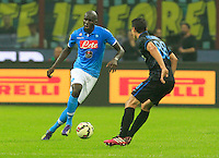Kalidou Koulibaly during the Italian serie A   soccer match between SSC Napoli and Inter    at  the San Siro    stadium in Milan  Italy , Octoberr 19 , 2014