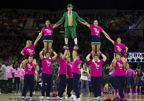 February 09, 2014:  Notre Dame cheerleaders perform during NCAA Basketball game action between the Notre Dame Fighting Irish and the Syracuse Orange at Purcell Pavilion at the Joyce Center in South Bend, Indiana. Notre Dame defeated Syracuse 101-64.