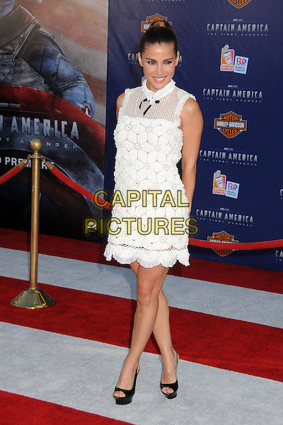 "Elsa Pataky.Premiere of ""Captain America: The First Avenger"" held at The El Capitan Theatre in Hollywood, California, USA..July 19th, 2011.full length dress platform open toe shoes white sheer crochet black bow sleeveless hair up.CAP/ADM/BP.©Byron Purvis/AdMedia/Capital Pictures."