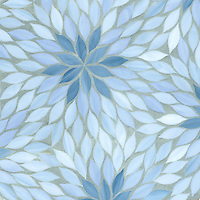 Blossom, a water jet jewel glass mosiac, shown in Pewter, Mica, and Covellite is part of the Ann Sacks Beau Monde collection sold exclusively at www.annsacks.com