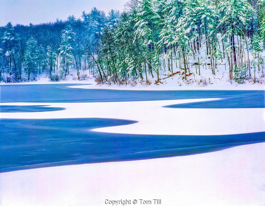 Walden pond in winter, Walden Pond State Reservation, Massachusetts, Famous home of Henry David Thoreau