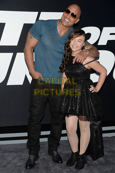 NEW YORK, NY - APR 08: Dwayne Johnson &amp; on-screen daughter Eden Estrella attend the Premiere of &quot;The Fate of the Furious&quot; at Radio City Music Hall on April 8, 2017 in NEW YORK CITY.<br /> CAP/LNC/TOM<br /> &copy;TOM/LNC/Capital Pictures