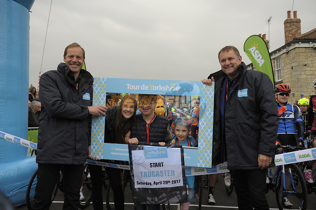 Christian Prudhomme ASO and Gary Verity race organiser at the start of the ASDA Women's Tour de Yorkshire 2017  running 122.5km from Tadcaster to Harrogate, England. 29th April 2017. <br /> Picture: ASO/P.Ballet | Cyclefile<br /> <br /> <br /> All photos usage must carry mandatory copyright credit (&copy; Cyclefile | ASO/P.Ballet)