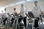 Asefa Estudiantes' Albert Oliver, Marc Blanch, Jayson Granger, Yannick Driesen and Josh Asselin during a physical recovery after the derby against Real Madrid Basketball. December 30,2010. (ALTERPHOTOS/Acero)