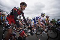 finally back in the peloton after months of rehabilitation after a nearly fatal crash while on training camp before the 2013 season: Allesandro Ballan (ITA)<br /> <br /> 2013 Ster ZLM Tour <br /> stage 4: Verviers - La Gileppe (186km)
