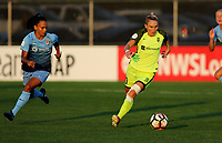 Piscataway, NJ - Saturday August 19, 2017: Taylor Lytle, Jessica Fishlock during a regular season National Women's Soccer League (NWSL) match between Sky Blue FC and the Seattle Reign FC at Yurcak Field.