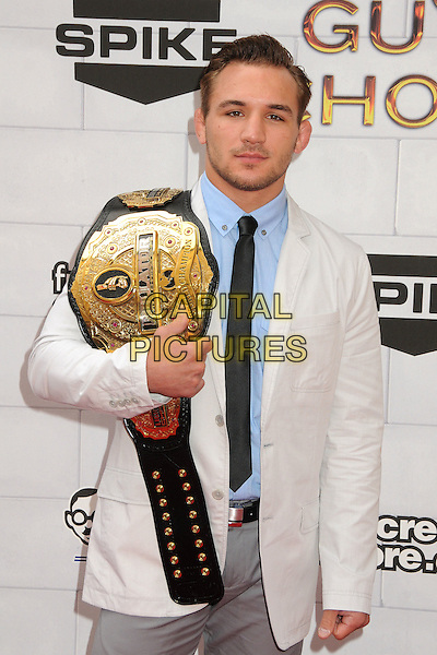 """Michael Chandler.Spike TV's 6th Annual """"Guys Choice"""" Awards held at Sony Pictures Studios, Culver City, California, USA, .2nd June 2012..half length  white cream jacket suit gold belt blue shirt .CAP/ADM/BP.©Byron Purvis/AdMedia/Capital Pictures."""