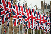 Union Jacks in Parliament Square on the eve of the Royal Wedding.