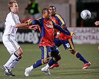 DC United's Domenic Mediate (6) Real Salt Lake's Andy Williams (7) and Robbie Findley (10) in the Real Salt Lake 4-0 win over DC United at Rice-Eccles Stadium in Salt Lake City, Utah on April 12, 2008