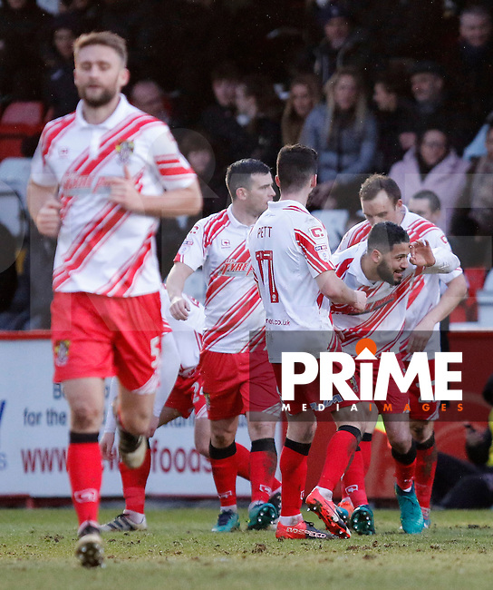 Stevenage's Jobi McAnuff is congratulated for his goal during the Sky Bet League 2 match between Stevenage and Grimsby Town at the Lamex Stadium, Stevenage, England on 28 January 2017. Photo by Carlton Myrie / PRiME Media Images.