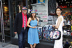 Dale Badway, Amy London, Lauri Landry are showing off Jane's Luggage at Phantom of Broadway (1607 Broadway). Jane Elissa has her art designs in a gallery at Dr. Cohen's office - 333 W. 52nd Street, New York City, New York for view. Jane donates to Leukemia/Lymphoma Society. (Photo by Sue Coflin/Max Photos)