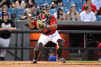 Nashville Sounds catcher Mike Rivera #11 in the field during a game against the Omaha Storm Chasers at Greer Stadium on April 25, 2011 in Nashville, Tennessee.  Omaha defeated Nashville 2-1.  Photo By Mike Janes/Four Seam Images