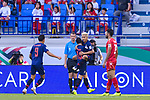 Chanathip Songkrasin of Thailand celebrates scoring the goal with teammates during the AFC Asian Cup UAE 2019 Group A match between Bahrain (BHR) and Thailand (THA) at Al Maktoum Stadium on 10 January 2019 in Dubai, United Arab Emirates. Photo by Marcio Rodrigo Machado / Power Sport Images