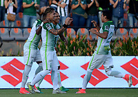 MEDELLIN- COLOMBIA - 23 - 07 - 2017:Dairo Moreno (Izq.) jugador de Atlético Nacional  celebra después de anotar un gol al Deportes Tolima  durante partido por la fecha 4 de la Liga Aguila II 2017 jugado en el estadio Atanasio Girardot  de la ciudad de Medellín. / Dairo Moreno (L) player of Atletico Nacional celebrates after scoring a goal to Deportes Tolima  during match for the date 4 of the Aguila League II 2017 played at Atanasio Girardot  stadium in  Medellin  city.Photo: VizzorImage  / León Monsalve / Cont.