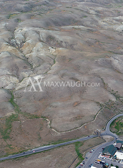 Roosevelt Arch and the town of Gardiner, MT, as photographed during an aerial shoot of Yellowstone.