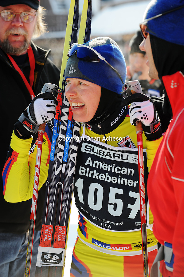 Swedish-born Kristina Strandberg (No. 1057) now living in Bend, Oregon, rests after completing the 2008 Subaru American Birkebeiner on Saturday, Feb. 23. She skied to a second-place finish in 2:24:22 in the women's freestyle division, followed by Sarah Konrad, Laramie, Wyoming, with a third-place time of 2:24:23. The race was from Cable to Hayward, Wis.