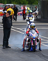 May 19, 2014; Commerce, GA, USA; NHRA pro stock motorcycle rider Hector Arana Sr during the Southern Nationals at Atlanta Dragway. Mandatory Credit: Mark J. Rebilas-USA TODAY Sports