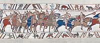 Bayeux Tapestry scene 48 :  Duke Williams Norman cavalry advance on Harols Saxons.