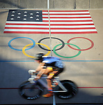 September 17, 2015 - Colorado Springs, Colorado, U.S. - A collegiate cyclist during a  points race qualifying round during the USA Cycling Collegiate Track National Championships, United States Olympic Training Center Velodrome, Colorado Springs, Colorado.