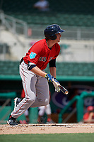 Boston Red Sox third baseman Triston Casas (19) hits a single during a Florida Instructional League game against the Baltimore Orioles on September 21, 2018 at JetBlue Park in Fort Myers, Florida.  (Mike Janes/Four Seam Images)