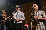 DC Stage, Kaohsiung -- Guest vocalist Jack Yeh with members of SMALLS JAZZ COMBO on stage during a performance.