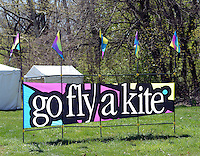 A sign outside tells people to Go Fly A Kite during Kite Day Sunday April 24, 2016 at the Fonthill Museum in Doylestown, Pennsylvania. (Photo by William Thomas Cain/Cain Images)