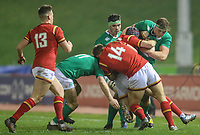 Ireland U20's Gavin Coombes is tackled by Wales U20's Rhun Williams<br /> <br /> Photographer Alex Dodd/CameraSport<br /> <br /> RBS Six Nations U20 Championship Round 4 - Wales U20s v Ireland U20s - Saturday 11th March 2017 - Parc Eirias, Colwyn Bay, North Wales<br /> <br /> World Copyright &copy; 2017 CameraSport. All rights reserved. 43 Linden Ave. Countesthorpe. Leicester. England. LE8 5PG - Tel: +44 (0) 116 277 4147 - admin@camerasport.com - www.camerasport.com