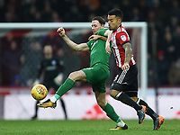 Preston's Alan Browne battles with Brentford's Nico Yennaris<br /> <br /> Photographer Jonathan Hobley/CameraSport<br /> <br /> The EFL Sky Bet Championship - Brentford v Preston North End - Saturday 10th February 2018 - Griffin Park - Brentford<br /> <br /> World Copyright &copy; 2018 CameraSport. All rights reserved. 43 Linden Ave. Countesthorpe. Leicester. England. LE8 5PG - Tel: +44 (0) 116 277 4147 - admin@camerasport.com - www.camerasport.com