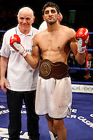 November 9th 2007 - Adnan Amar and Brendan Ingle celebrate at the Ice Arena, Nottingham, England