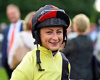 Jockey Nicola Currie during Evening Racing at Salisbury Racecourse on 3rd September 2019