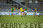 Feale Rangers Cormac Dillon pulls the trigger against South Kerry despite been marked by Emmet Daly and Darren Reardon of South Kerry in the U14 County District Football Championship Cup final.