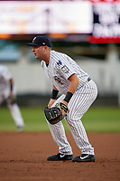 Staten Island Yankees first baseman Mitchell Robinson (14) during a NY-Penn League game against the Aberdeen Ironbirds on August 22, 2019 at Richmond County Bank Ballpark in Staten Island, New York.  Aberdeen defeated Staten Island 4-1 in a rain shortened game.  (Mike Janes/Four Seam Images)
