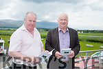l-r  Brendan Guerin and Jimmy Browne enjoying the North Kerry Harriers Point to Point at Ballybeggan Tralee on Saturday